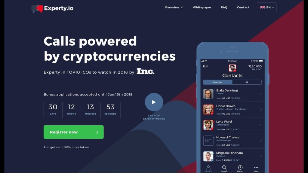Experty ICO | Share & Receive Knowledge Via Calls Powered By Cryptos